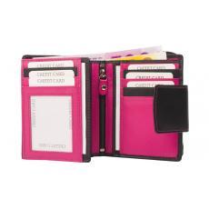Kleine Damenbörse 11 Kartenfächer - Nappa Leder - schwarz/pink