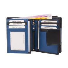 Kleine Damenbörse 11 Kartenfächer - Nappa Leder - schwarz/blau