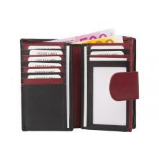Mittlere Damenbörse 16 Kartenfächer - Nappa Leder - schwarz/bordo