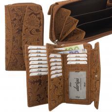 RFID Protection - Große Hunterleder Damenbörse mit Prägemotiv, 18 Kartenfächer