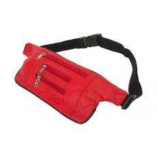 Große Damenbörse - 2 Reißverschlüsse rundum - Vollrind Leder rot