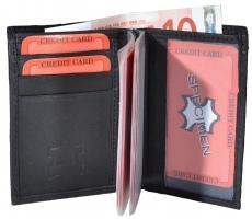 Kreditkarten Börse Hochformat - 12 Hüllen, Hartgeldfach, Scheinfach - Nappa Leder