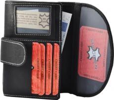 Damenbörse mit Passbild Fach Rind Leder schwarz