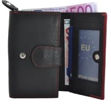 Große Damenbörse mit Druckknopf Hartgeldfach - Rind Leder schwarz/rot