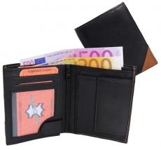 Geldbörse Nappa-Leder Kombibörse schwarz/tan - Corner