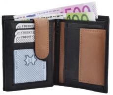 Geldbörse Nappa-Leder Kombibörse schwarz/tan