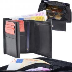 Geldbörse Nappa-Leder Kombibörse schwarz mit Reißverschluss im Scheinfach