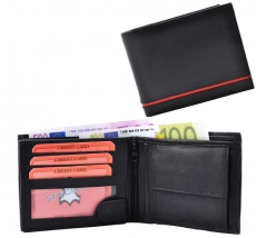 Geldbörse Nappa-Leder Scheintasche mit Einkaufschip schwarz/rot - Line
