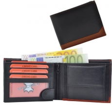 Geldbörse Nappa-Leder Scheintasche schwarz/tan - Stripe