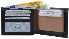 Geldbörse Nappa-Leder Scheintasche schwarz/tan