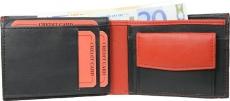 Geldbörse Nappa-Leder Scheintasche (klein) schwarz/rot
