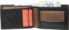 Geldbörse Nappa-Leder Scheintasche (klein) schwarz/tan