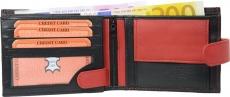 Geldbörse Nappa-Leder Scheintasche mit Außenriegel schwarz/rot
