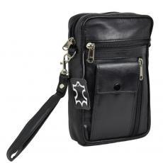 Herren Tasche mit kleinem Handyfach - softes Lamm Nappa Leder schwarz