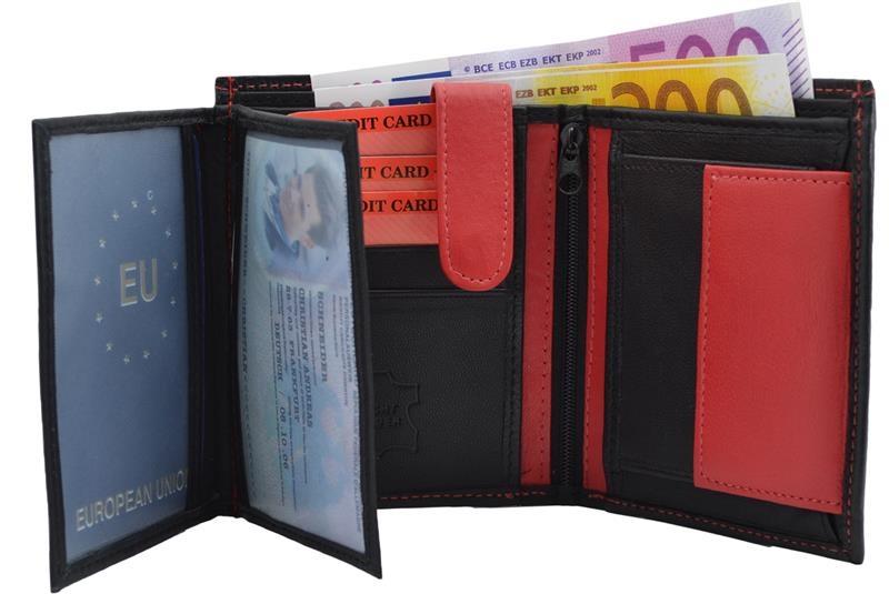 63b7fb03b70eb Geldbörse Nappa-Leder Kombibörse schwarz rot - iMPEX Lederwaren ...