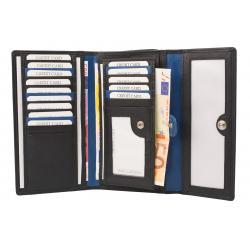 Große Damenbörse 16 Kartenfächer - Nappa Leder - schwarz/blau