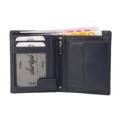 Hochwertige Rindleder Geldbörse mit Doppelnaht  - dunkelblau uni