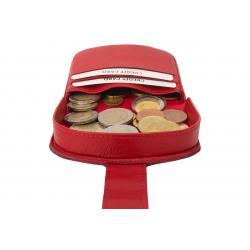 Schüttelbörse / Münzbörse mit 4 Kartenfächern und Verschlussriegel rot