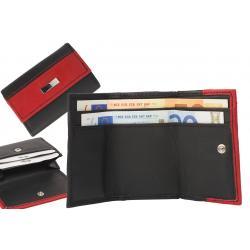 Minibörse mit 2 Scheinfächern und Hartgeldfach schwarz/rot - mit Metallplättchen für Gravuren