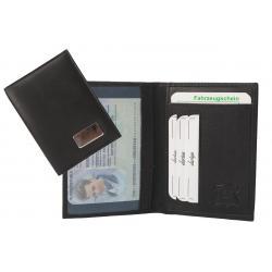 Fahrzeugschein / Ausweismäppchen schwarz mit Metallplättchen zum gravieren