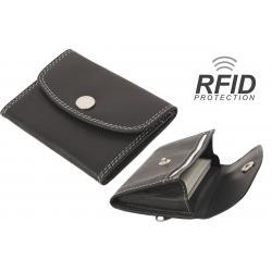 RFID Protected - Kartenbörse/Minibörse bis 8 Karten - Doppelnaht Rindleder schwarz