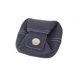 Münzbörse / Kleingeld Beutel dunkelblau mit grauer Naht
