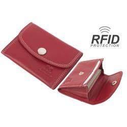 RFID Protected - Kartenbörse/Minibörse bis 8 Karten - Doppelnaht Rindleder rot