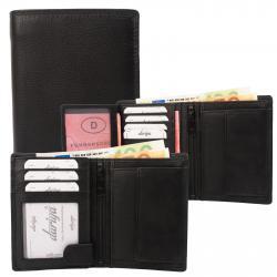 Rindleder Doppelnaht Geldbörse mit großem Kleingeldfach, 7 Kartenfächer