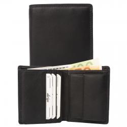 Kleine Rindleder Doppelnaht Geldbörse mit großem Kleingeldfach, 7 Kartenfächer