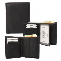 Mittelgroße Rindleder Doppelnaht Geldbörse mit großem Kleingeldfach, 6 Kartenfächer