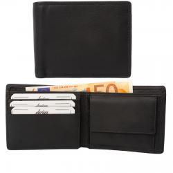Kleine Rindleder Doppelnaht Geldbörse mit großem Kleingeldfach, 6 Kartenfächer