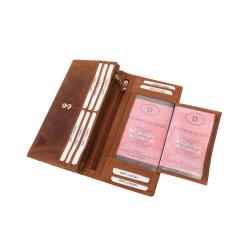 RFID Protection - Große Hunterleder Damenbörse, 10 Kartenfächer