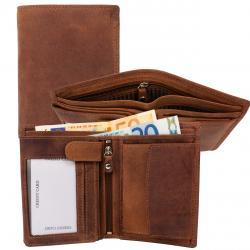 RFID Protection - Doppelnaht Hunterleder Hochformat Geldbörse