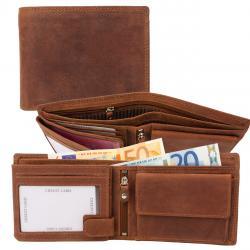 RFID Protection - Doppelnaht Hunterleder Querformat Geldbörse