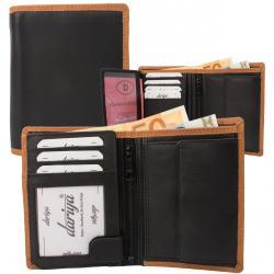Rindleder Doppelnaht Geldbörse mit großem Kleingeldfach, 7 Kartenfächer - Farbakzente