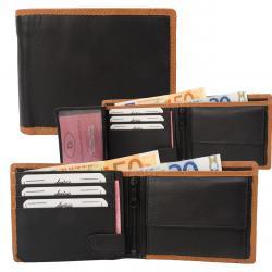 Rindleder Doppelnaht Geldbörse mit großem Kleingeldfach, 6 Kartenfächer - Farbakzent