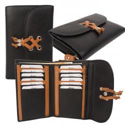 Mittlere Damenbörse 12 Kartenfächer - Rind Nappa Leder - schwarz/tan