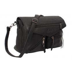 Formstabile Umhängetasche mit zwei aufgesetzten Taschen schwarz