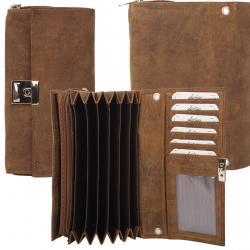 Kellner Geldbörse mit 7 Kartenfächern und Reißverschluss Münzfach Hunter Leder