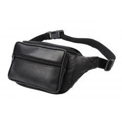 Bauchtasche mit Fronttasche Reißverschluss - Nappa Leder schwarz