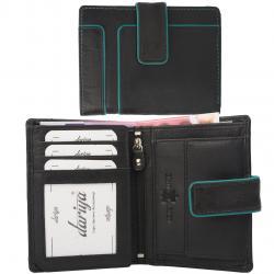 Color Exclusive Rindleder Geldbörse mit großem Kleingeldfach, 7 Kartenfächer, Außenriegel