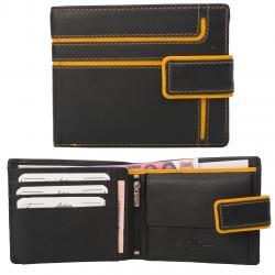 Color Exclusive Rindleder Geldbörse mit großem Kleingeldfach, 6 Kartenfächer, Außenriegel