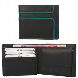 Color Exclusive Kleine Rindleder Geldbörse mit großem Kleingeldfach, 8 Kartenfächer