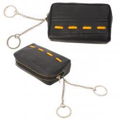 Schlüsseltasche mit 2 Ringen - Nappa Leder Color-Exklusive schwarz/gelb