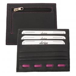 Flacher Kartenhalter für 3 Karten mit Münzfach schwarz/pink