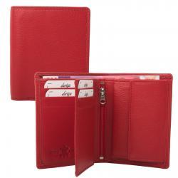 Mittelgroße Rindleder Doppelnaht Geldbörse mit großem Kleingeldfach, 6 Kartenfächer rot