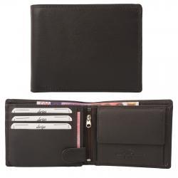 Rindleder Doppelnaht Geldbörse mit großem Kleingeldfach, 6 Kartenfächer braun