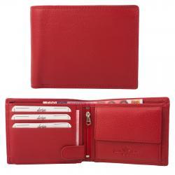 Rindleder Doppelnaht Geldbörse mit großem Kleingeldfach, 6 Kartenfächer rot