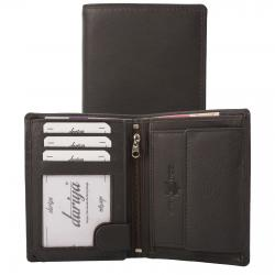 Rindleder Doppelnaht Geldbörse mit großem Kleingeldfach, 7 Kartenfächer braun