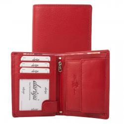 Rindleder Doppelnaht Geldbörse mit großem Kleingeldfach, 7 Kartenfächer rot